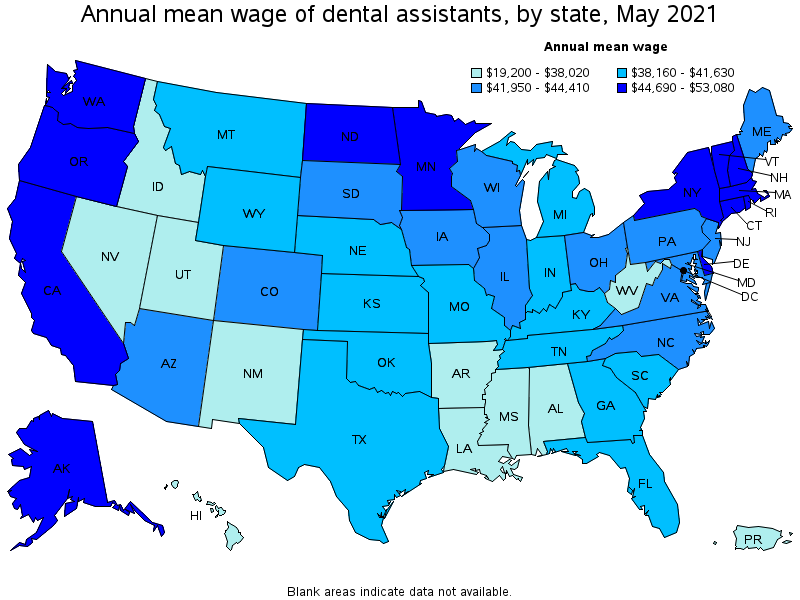 Annual average wage - dental Assistants by State 2019
