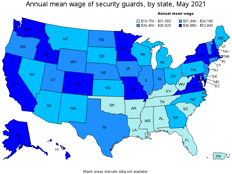 Annual average wage of security guards by state, May 2013 (source bls.gov)