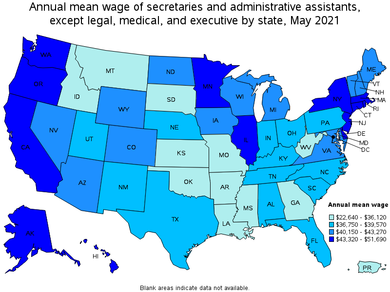 top paying states for this occupation - Church Administrative Assistant Salary
