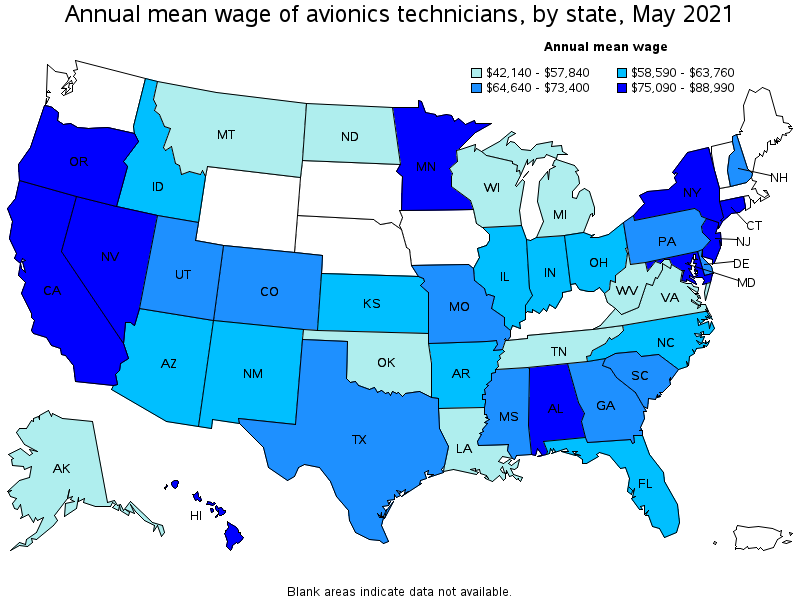 top paying states for this occupation - Avionics Installer Jobs