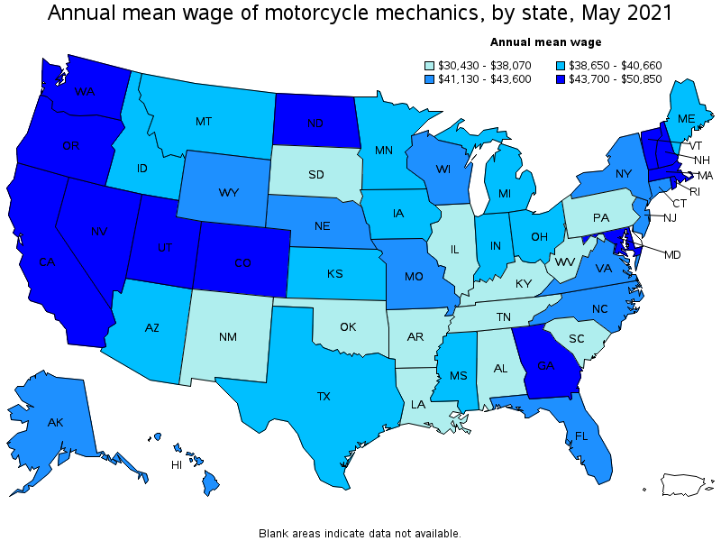 top paying states for this occupation - Motorcycle Mechanic Job Description