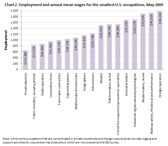 Employment and annual mean wages for the smallest U.S. occupations, May 2009