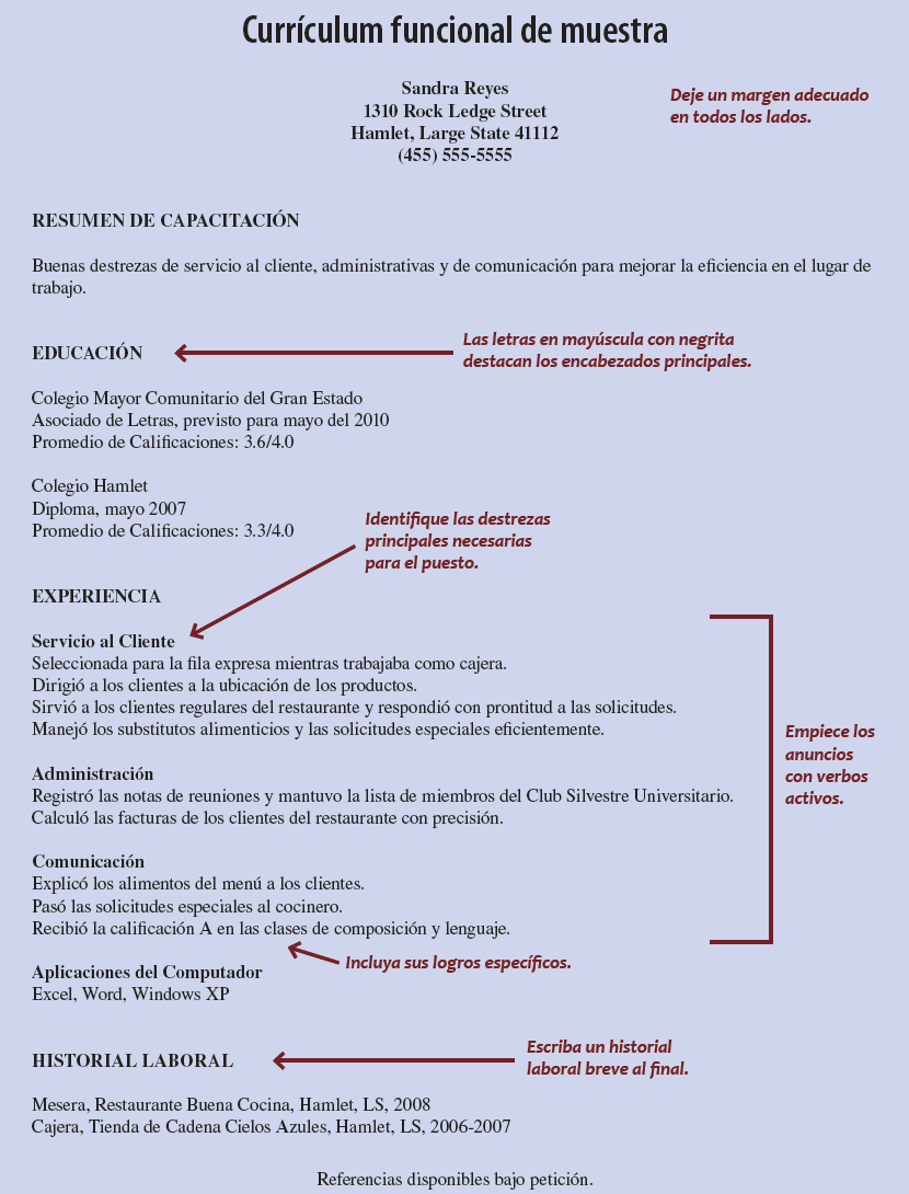 Currculum solicitudes y cartas de presentacin occupational sample functional resume madrichimfo Gallery