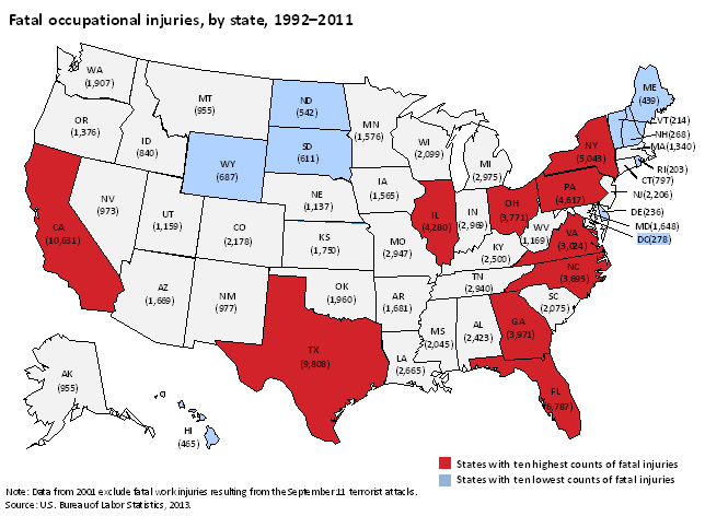 Fatal occupational injuries, by state, 1992–2011