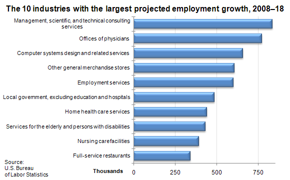 The 10 industries with the largest projected employment growth, 2008–18