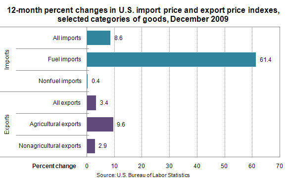 12-month percent changes in U.S. import price and export price indexes, selected categories of goods, December 2009