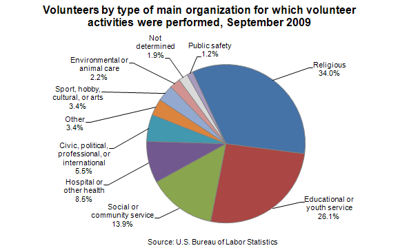 Volunteers by type of main organization for which volunteer activities were performed, September 2009