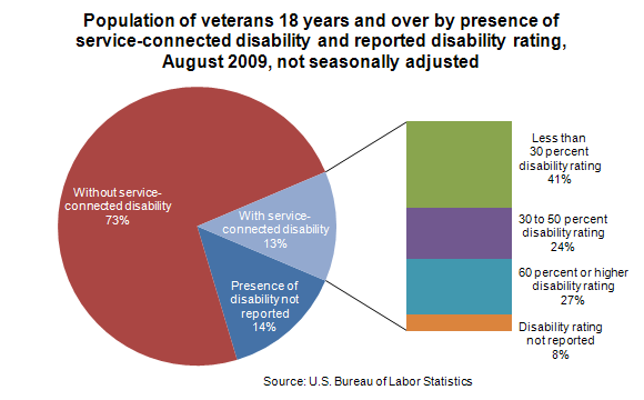 Population of veterans 18 years and over by presence of service-connected disability and reported disability rating, August 2009, not seasonally adjusted