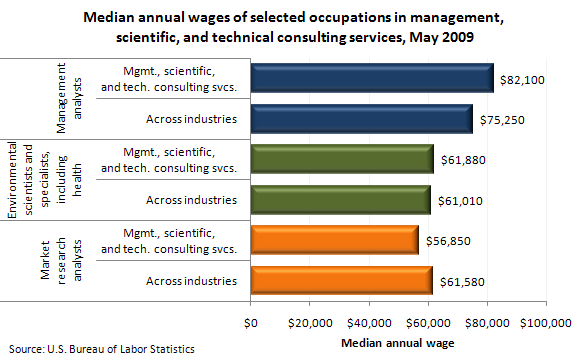 Median annual wages of selected occupations in management, scientific, and technical consulting services, May 2009