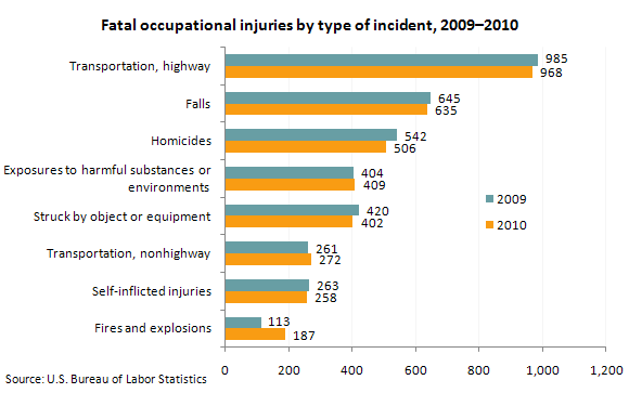 Fatal occupational injuries by type of incident, 2009–2010