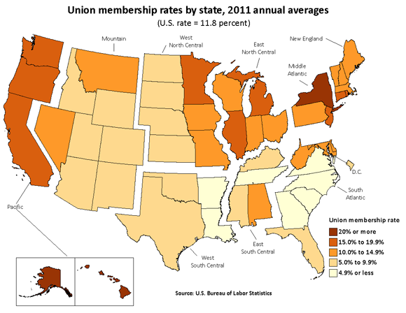 Union membership rates by state, 2011 annual averages