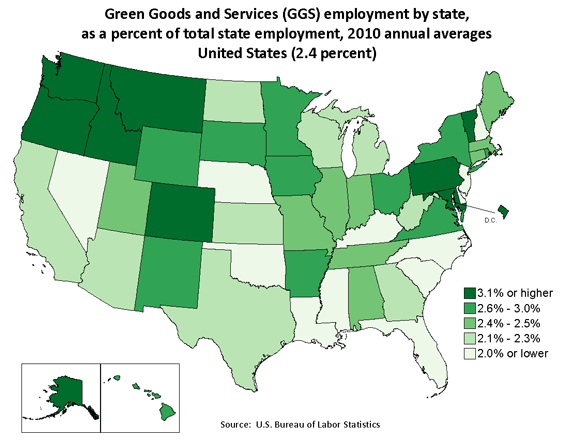 Green Goods and Services (GGS) employment by state, as a percent of total employment, 2010 annual averages United States (2.4 percent)