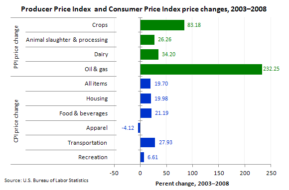 "Consumer Price Index and Producer Price Index price changes, 2003€""2008"