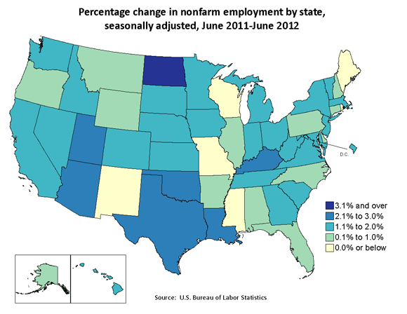 Percentage change in nonfarm employment by state, seasonally adjusted, June 2011-June 2012