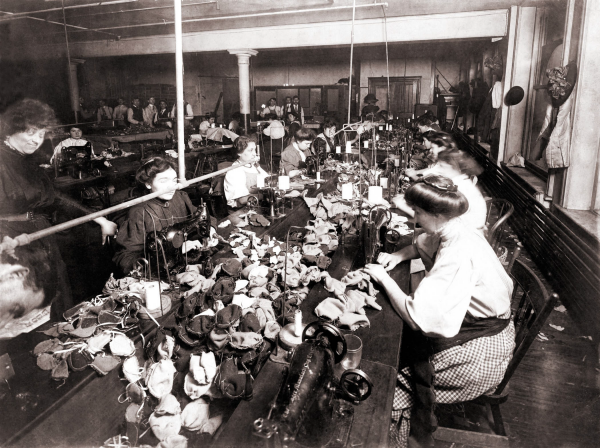 Image of female workers sewing in a sweat shop