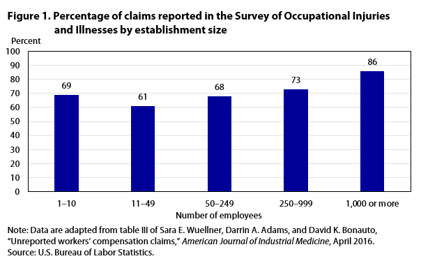 Figure 1 Percentage of claims reported in SOII by establishment size