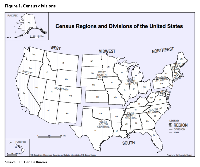 Figure 1. Map of Census divisions