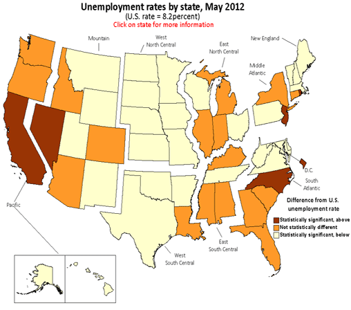 Unemployment rates by state, May 2012 annual averages
