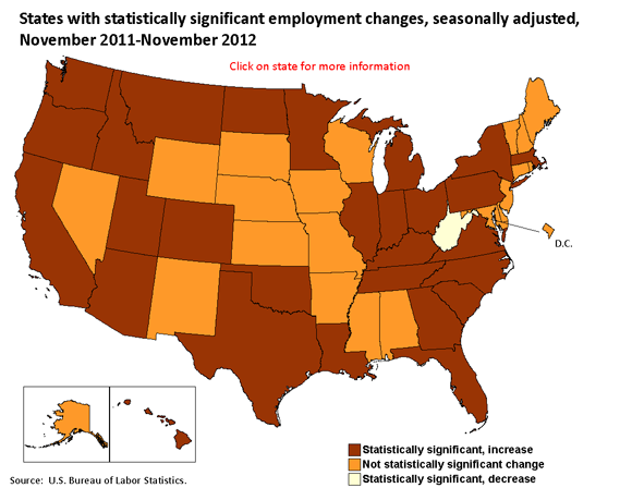 States with statistically significant employment changes, seasonally adjusted, November 2011-November 2012