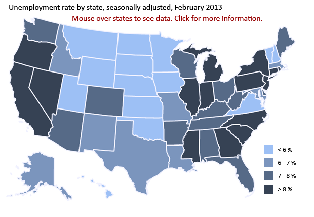 State unemployment rates in february 2013 the economics daily state unemployment rates in february 2013 the economics daily us bureau of labor statistics sciox Gallery