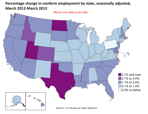 Percentage change in nonfarm employment by state, seasonally adjusted, March 2012-March 2013
