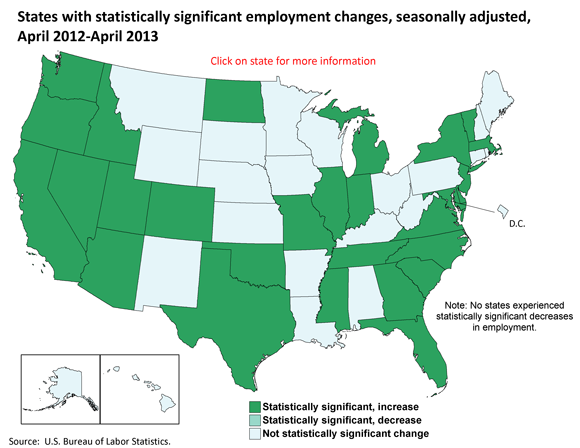 States with statistically significant employment changes, seasonally adjusted, April 2012-April 2013