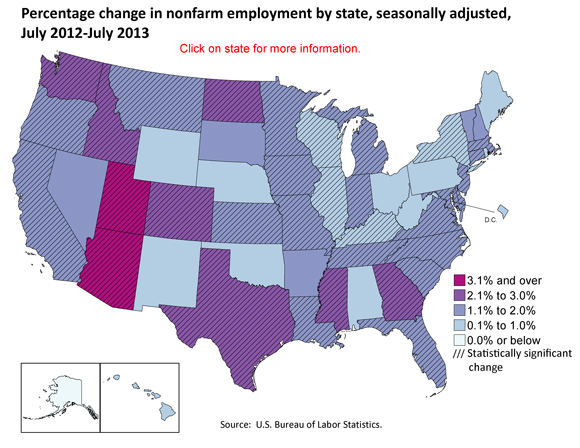 Percentage change in nonfarm employment by state, seasonally adjusted, July 2012-July 2013