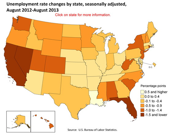 Percentage change in unemployment rates by state, seasonally adjusted,  August 2012-August 2013