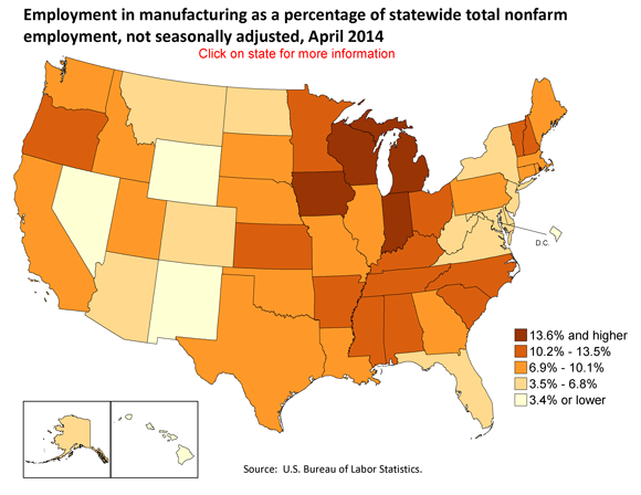Employment in manufacturing as a percentage of statewide total nonfarm employment, by state, not seasonally adjusted, April 2014