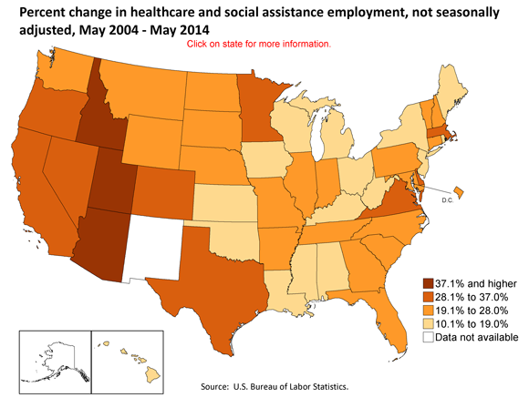 Percent change in healthcare and social assistance employment, not seasonally adjusted, May 2004-May 2014