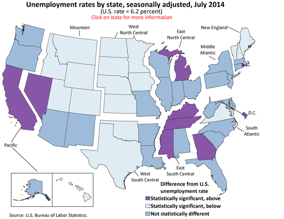 Unemployment rates by state, seasonally adjusted, July 2014 (U.S. rate = 6.2 percent)