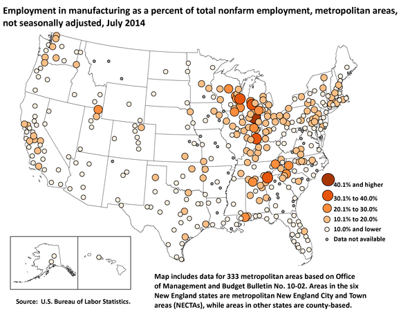 Employment in manufacturing as a percent of total nonfarm employment, metropolitan areas, not seasonally adjusted, July 2014