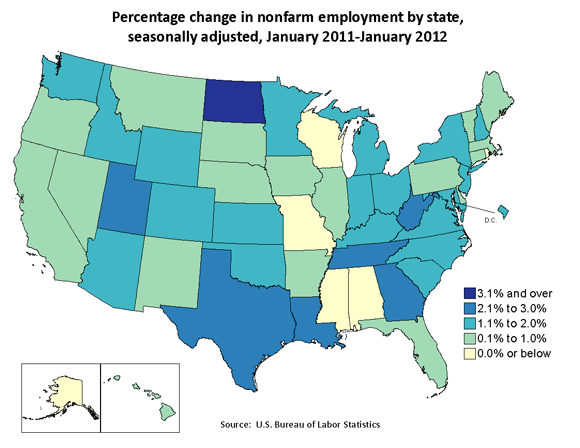 State Employment January 2011 January 2012 The Economics Daily