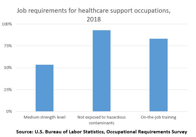 Job requirements for healthcare support occupations