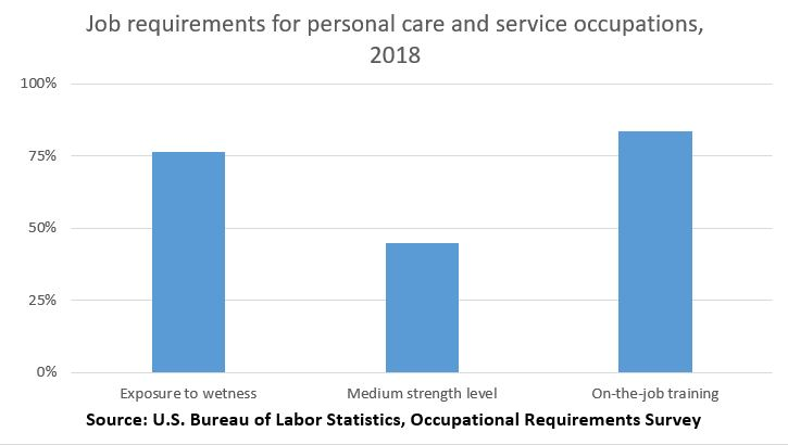 Job requirements for personal care and service occupations