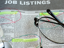 Job listings in a newspaper