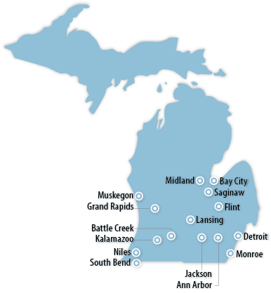 Michigan Midwest Information Office US Bureau Of Labor - Michigan us map