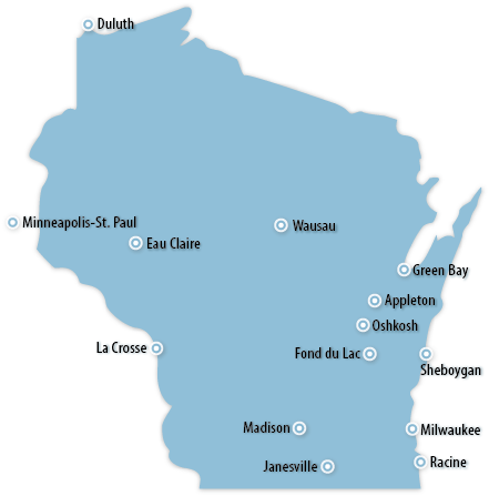 Wisconsin Midwest Information Office US Bureau Of Labor - Wisconsin on a us map