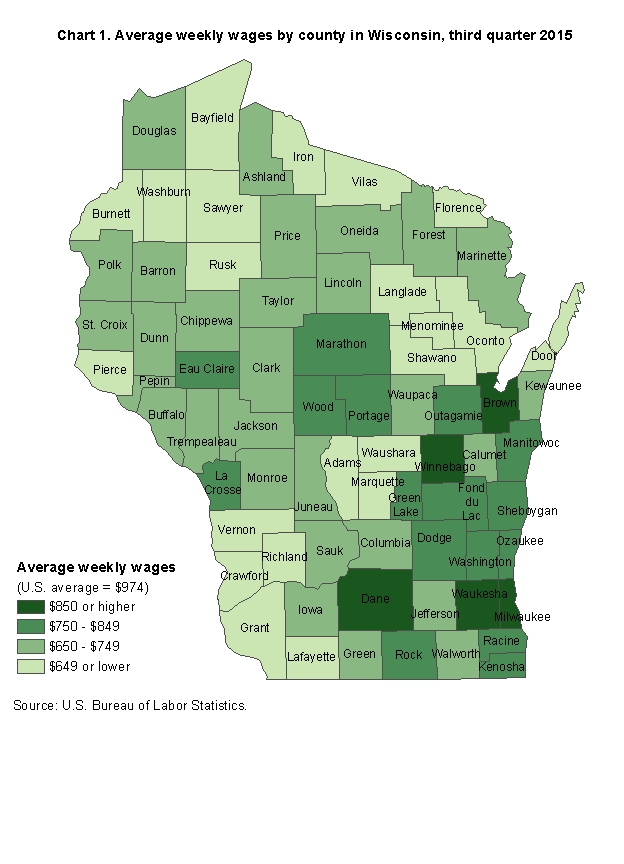 Chart 1.  Average weekly wages by county in Wisconsin, third quarter 2015