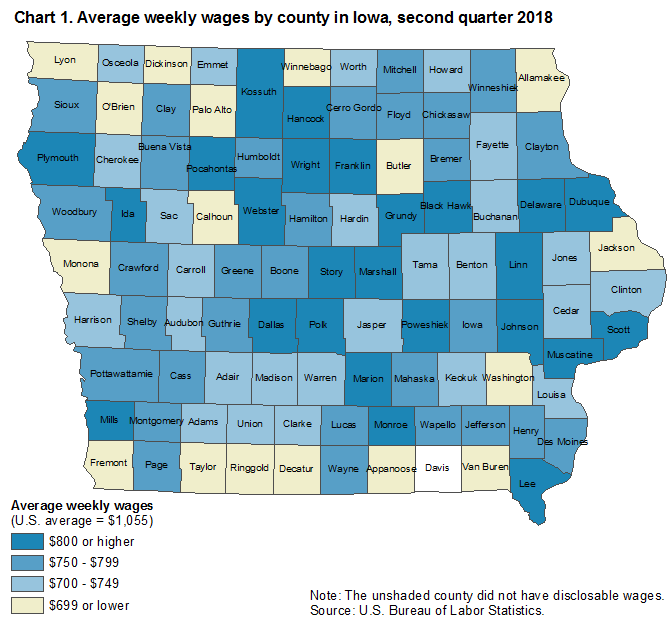 Chart 1.  Average weekly wages by county in Iowa, second quarter 2018