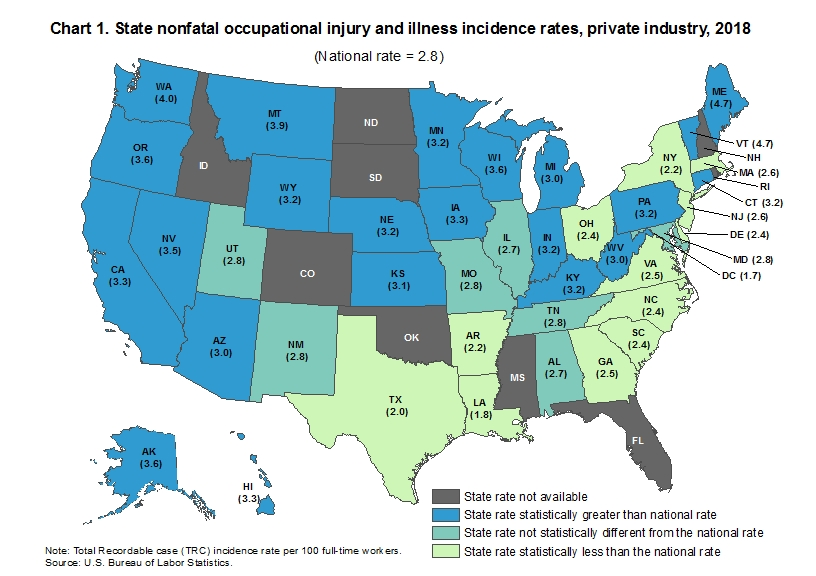 Chart 1. State nonfatal occupational injury and illness incidence rates, private industry, 2018