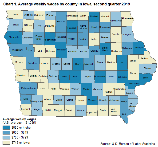 Chart 1.  Average weekly wages by county in Iowa, second quarter 2019
