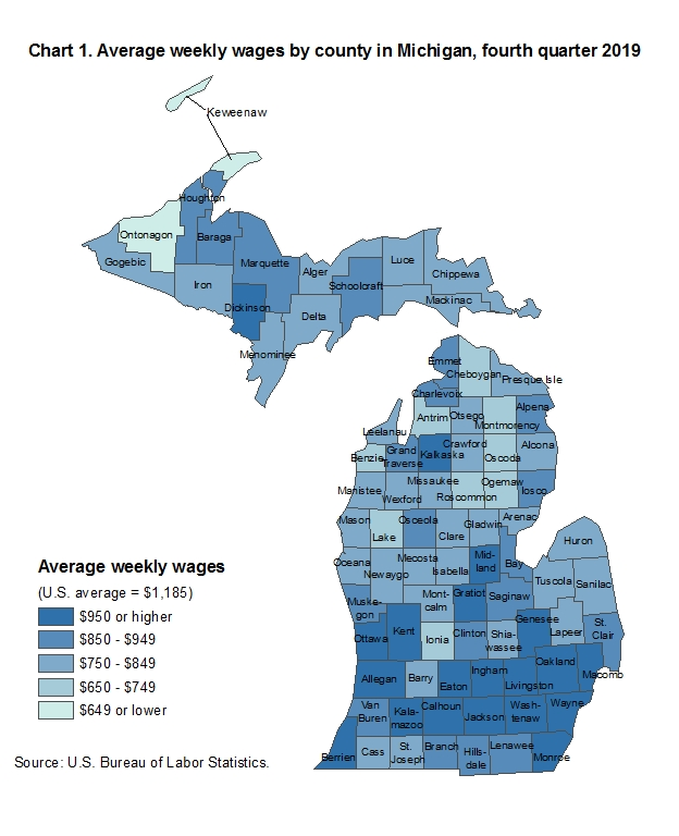 Chart 1. Average weekly wages by county in Michigan, fourth quarter 2019