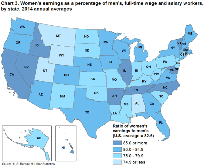 Chart 3. Womens earnings as a percentage of mens, full-time wage and salary workers, by state, 2014 annual averages