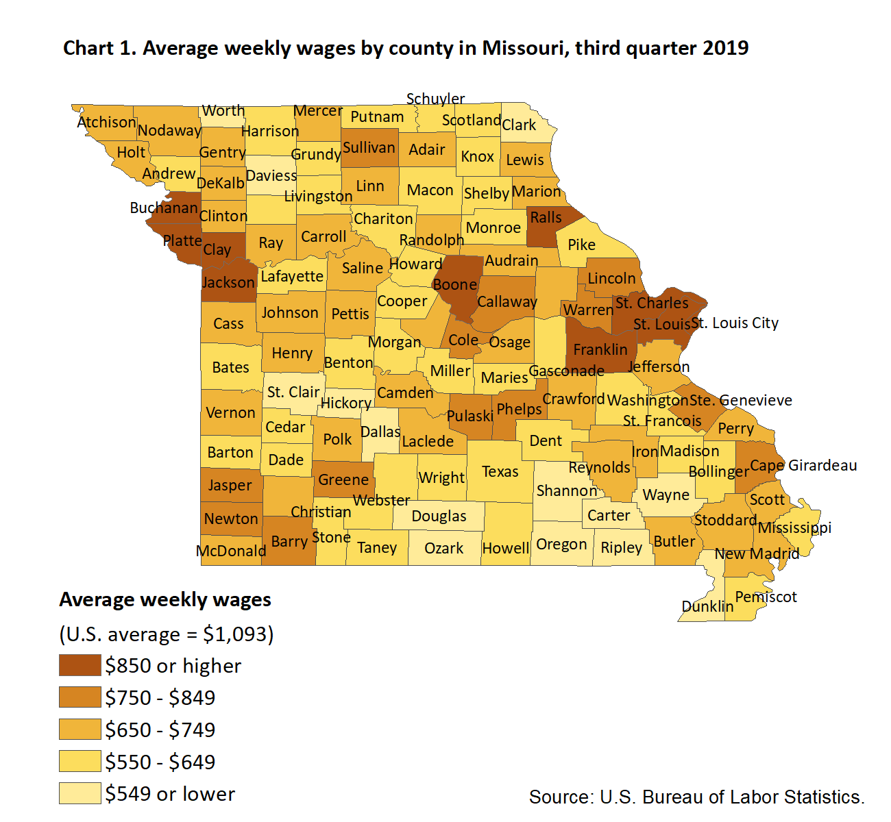 Chart 1. Average weekly wages by county in Missouri, third quarter 2019