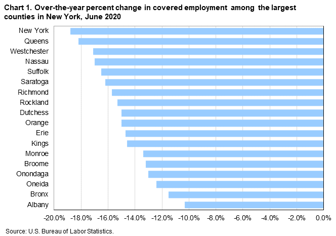 Chart 1. Over-the-year percent change in covered employment among the largest counties in New York, June 2020