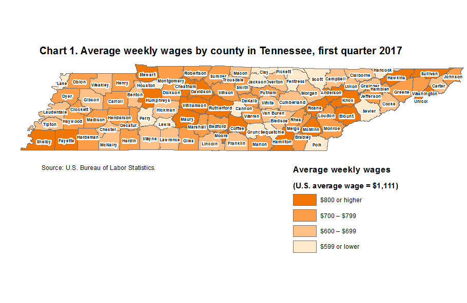Chart 1. Average weekly wages by county in Tennessee, first quarter 2017