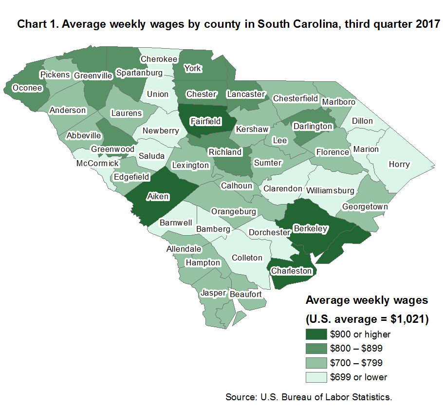 Chart 1. Average weekly wages by county in South Carolina, third quarter 2017
