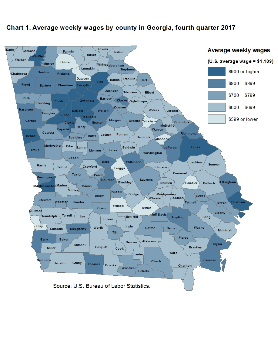 Chart 1. Average weekly wages by county in Georgia, fourth quarter 2017