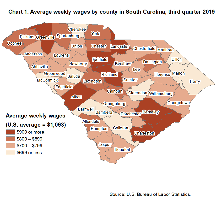 Chart 1. Average weekly wages by county in South Carolina, third quarter 2019